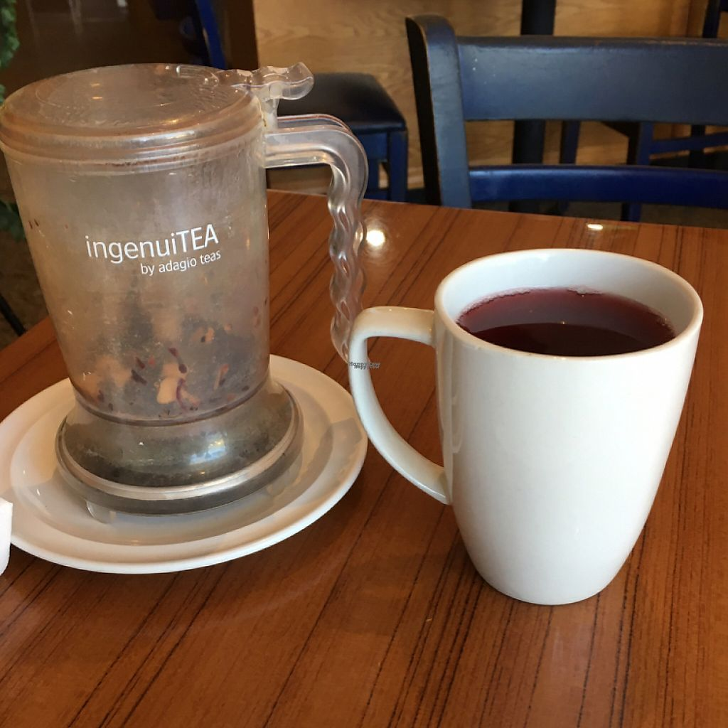 """Photo of Leafy Greens Cafe  by <a href=""""/members/profile/KWdaddio"""">KWdaddio</a> <br/>daily special raspberry herbal tea in crazy cool ingenuiTea steeping vessel.  <br/> February 24, 2017  - <a href='/contact/abuse/image/14358/230013'>Report</a>"""