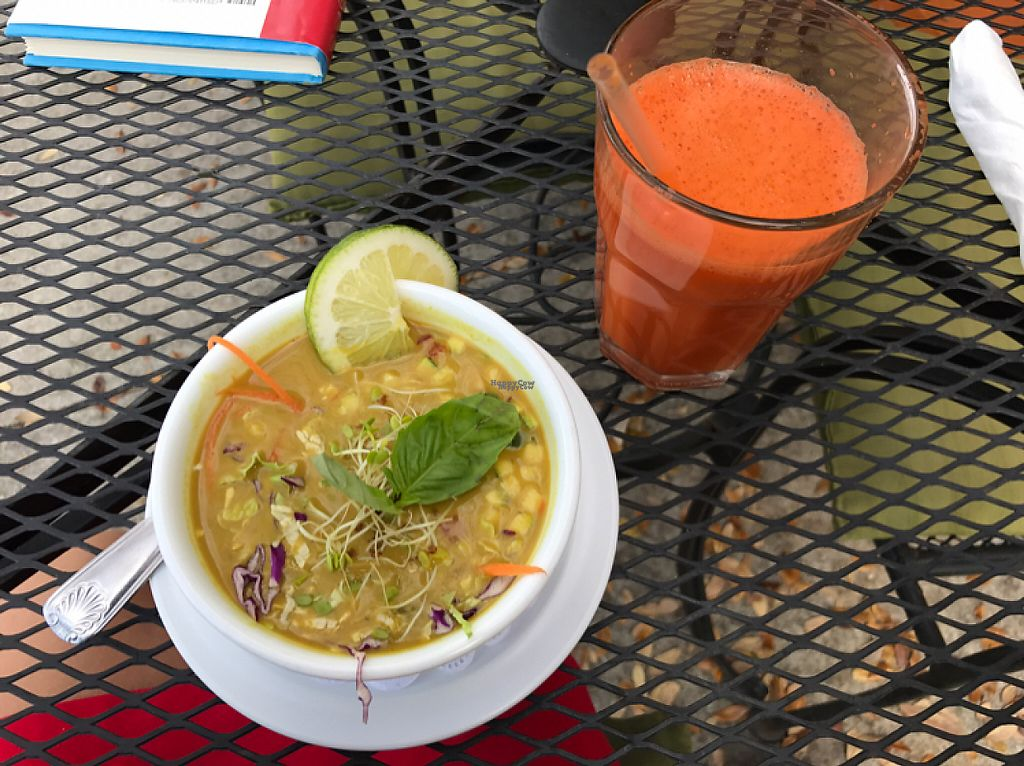 """Photo of Leafy Greens Cafe  by <a href=""""/members/profile/JayVeraSummer"""">JayVeraSummer</a> <br/>Thai Curry soup + carrot ginger juice <br/> March 9, 2017  - <a href='/contact/abuse/image/14358/234370'>Report</a>"""