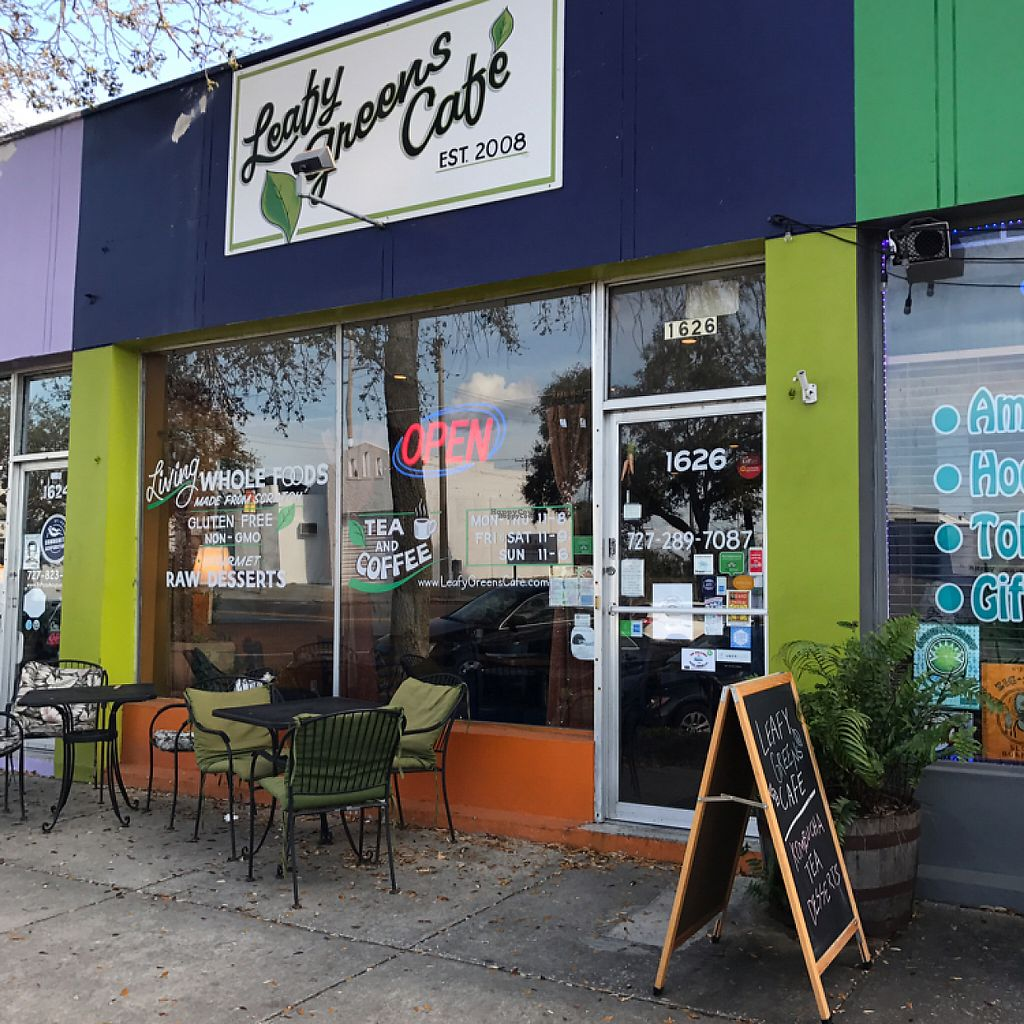 """Photo of Leafy Greens Cafe  by <a href=""""/members/profile/JayVeraSummer"""">JayVeraSummer</a> <br/>cafe front  <br/> March 9, 2017  - <a href='/contact/abuse/image/14358/234374'>Report</a>"""