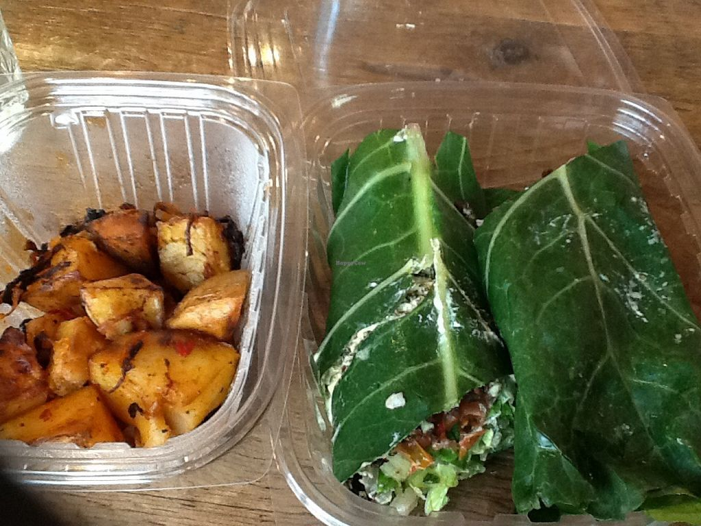 """Photo of CLOSED: Sun in Bloom  by <a href=""""/members/profile/MizzB"""">MizzB</a> <br/>Takeout Collard wrapped BLT with side of home fries <br/> August 31, 2015  - <a href='/contact/abuse/image/14366/115925'>Report</a>"""
