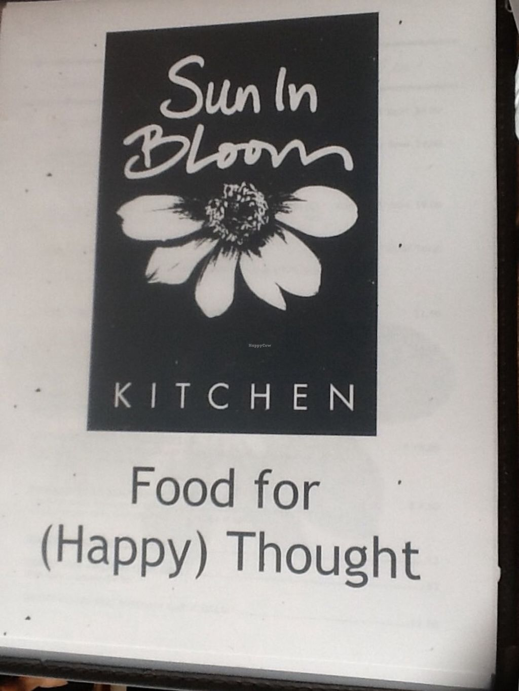 """Photo of CLOSED: Sun in Bloom  by <a href=""""/members/profile/MizzB"""">MizzB</a> <br/>Haapy food. Menu cover <br/> August 31, 2015  - <a href='/contact/abuse/image/14366/115930'>Report</a>"""