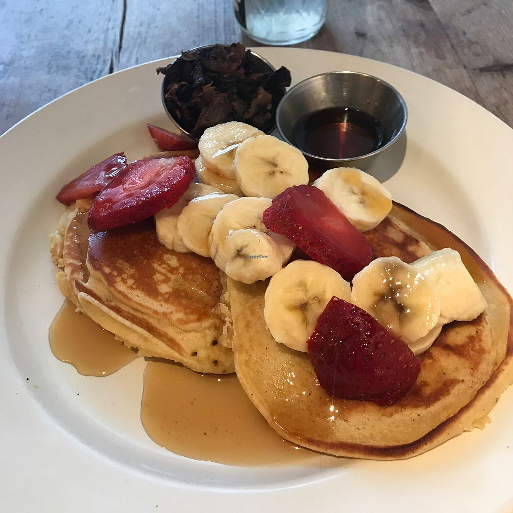 """Photo of CLOSED: Sun in Bloom  by <a href=""""/members/profile/wanderlustarcher"""">wanderlustarcher</a> <br/>These vegan/gluten free pancakes are to die for. I also added a side of Shiitake bacon & that just packed on the greatness. This is an everyday breakfast meal for me when it comes to Sun In Bloom. First restaurant I've had vegan pancakes at & now I don't want to try anywhere else. Haha <br/> July 8, 2017  - <a href='/contact/abuse/image/14366/277868'>Report</a>"""