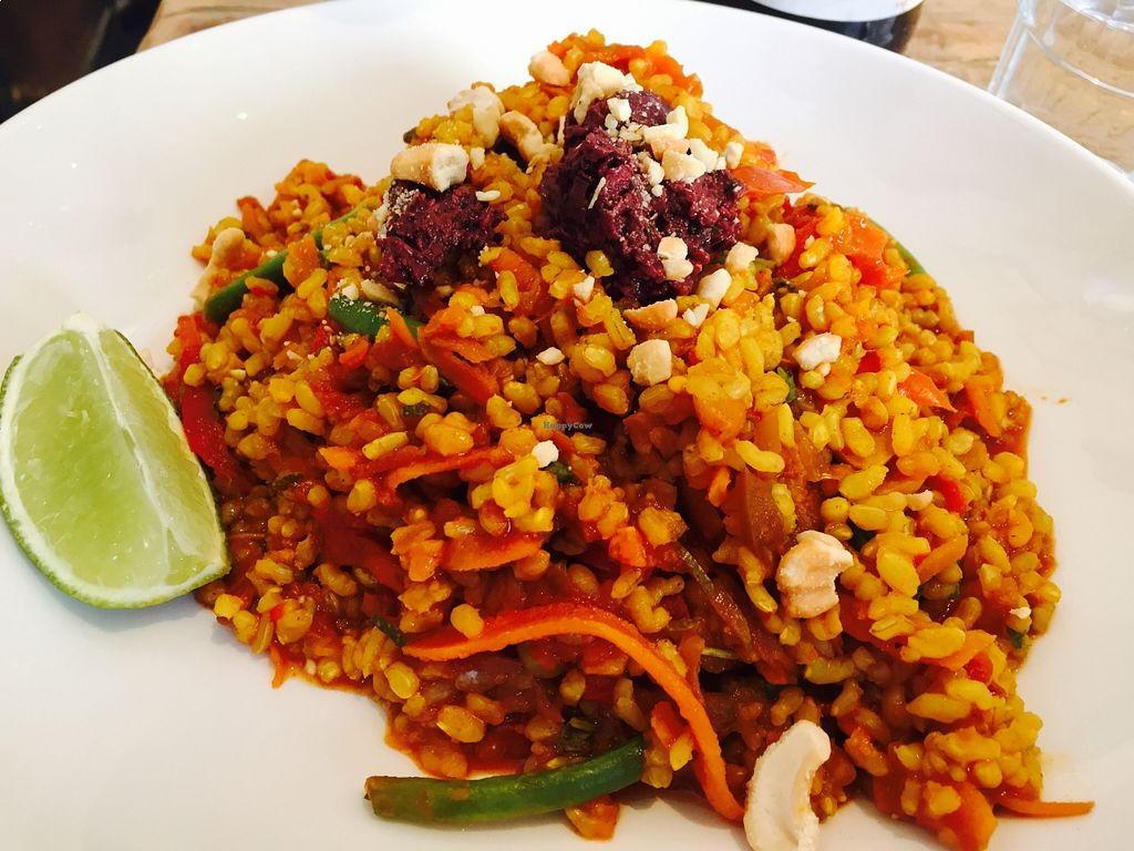 """Photo of The Happy Pear  by <a href=""""/members/profile/burgerabroad"""">burgerabroad</a> <br/>roasted vegetable paella <br/> August 23, 2015  - <a href='/contact/abuse/image/14382/114822'>Report</a>"""