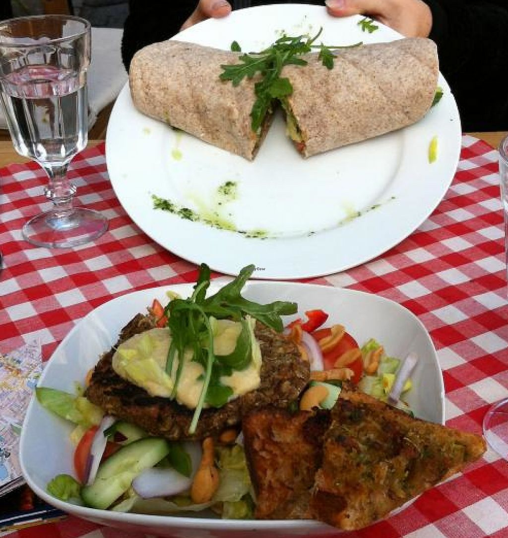 """Photo of Pygmalion  by <a href=""""/members/profile/thepianowindow"""">thepianowindow</a> <br/>Top: The vegan wrap with hummus Bottom: The vegan salad, with lettuce, cucumbers, olive oil, tomatoes, red bell pepper, cashews, and onions; topped with a homemade lentil patty and hummus, and incredibly delicious vegan crostini with olive oil <br/> June 26, 2013  - <a href='/contact/abuse/image/14441/240501'>Report</a>"""