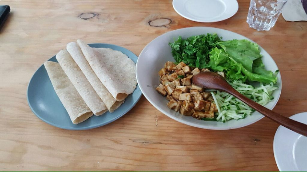 """Photo of Beijing Vegan Hut  by <a href=""""/members/profile/lunapavo"""">lunapavo</a> <br/>Tofu, vegetables and pancake wraps <br/> August 22, 2015  - <a href='/contact/abuse/image/14458/114688'>Report</a>"""