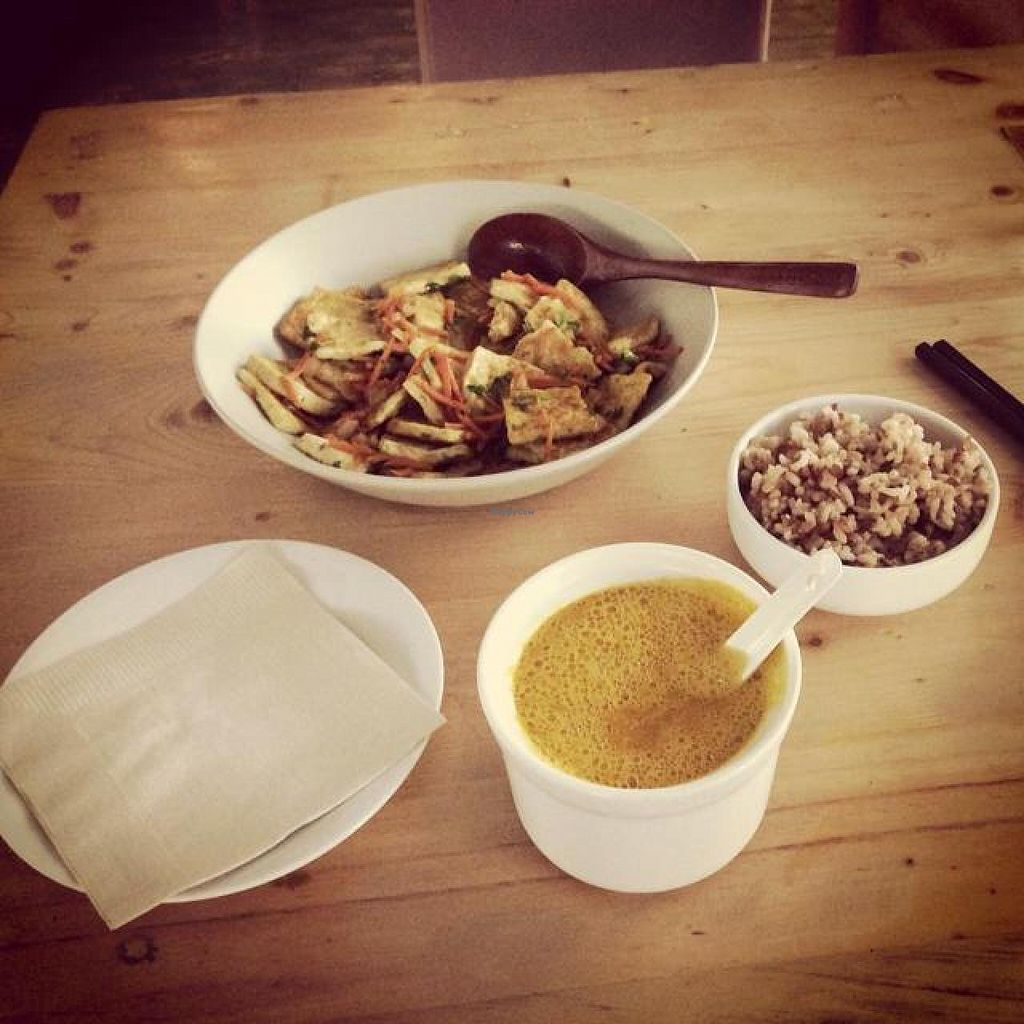 Photo of Beijing Vegan Hut  by Quetzal <br/>tofu dish, pumpkin soup and rice <br/> October 4, 2014  - <a href='/contact/abuse/image/14458/82120'>Report</a>