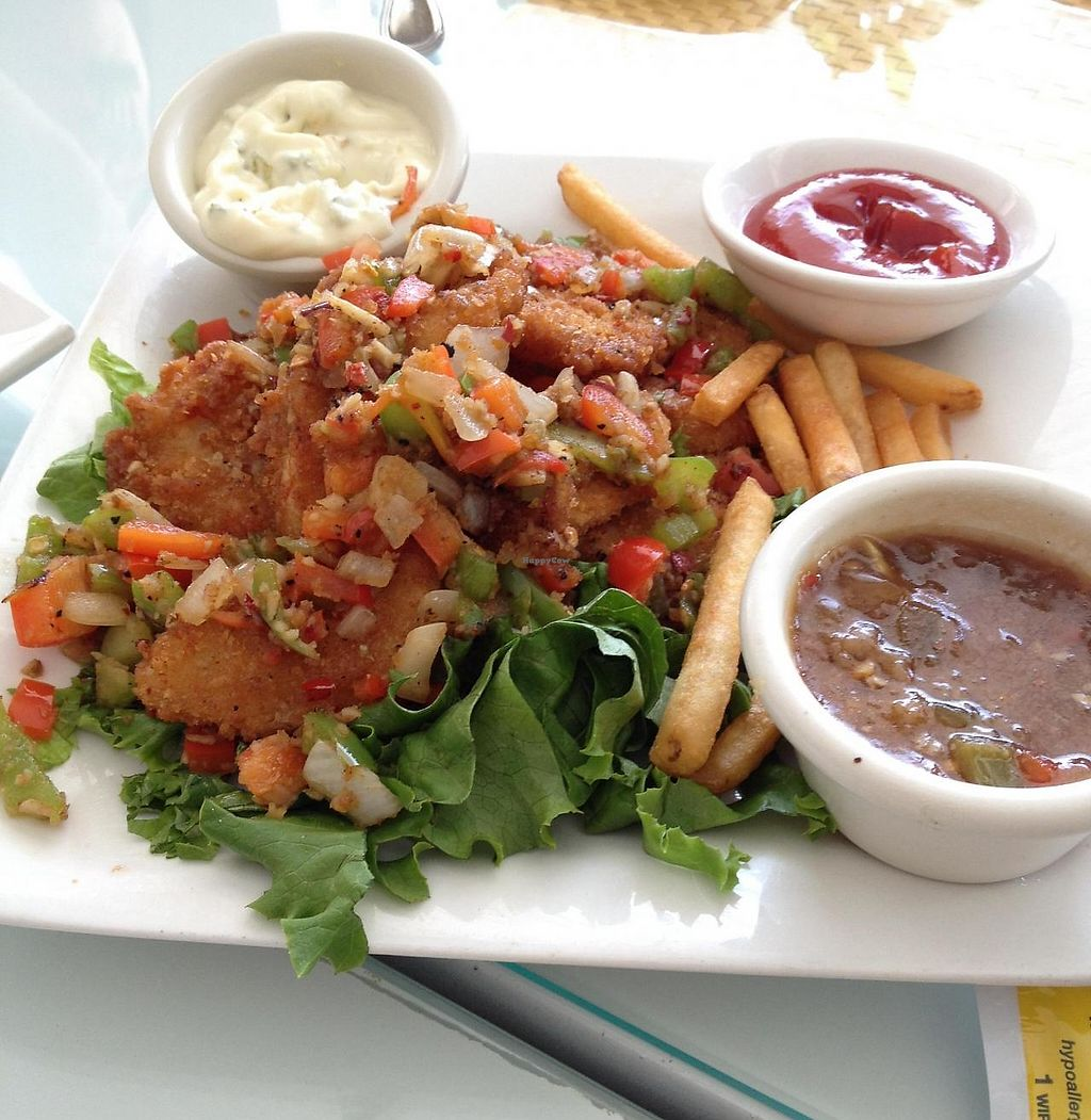 """Photo of Loving Hut  by <a href=""""/members/profile/Tigra220"""">Tigra220</a> <br/>Spicy ChaCha; now comes with fries or veggies & your choice of sauces (I got both sauces) <br/> August 9, 2014  - <a href='/contact/abuse/image/1456/189135'>Report</a>"""