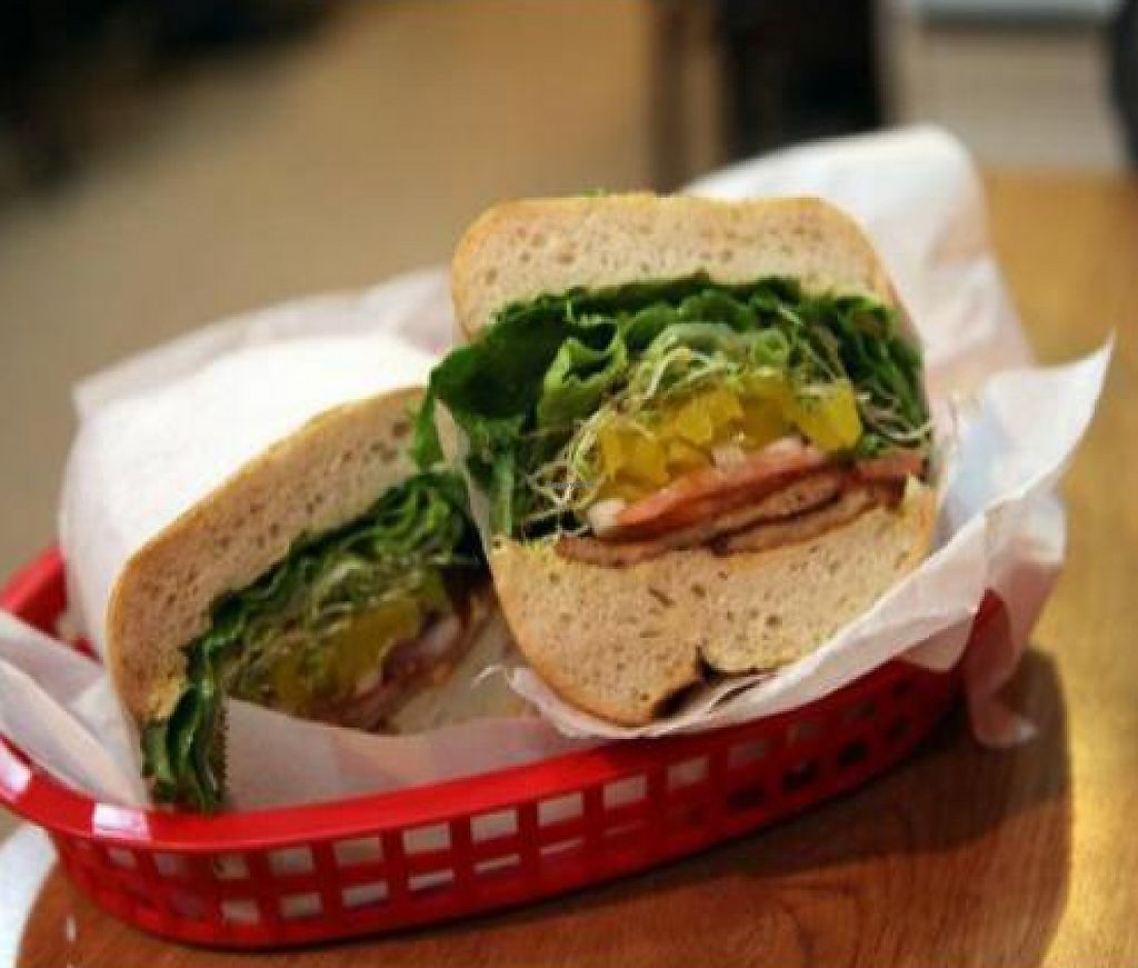 """Photo of Love N Haight Deli  by <a href=""""/members/profile/quarrygirl"""">quarrygirl</a> <br/>vege peppersteak sandwich on a sourdough roll with pepperoncini <br/> November 30, 2011  - <a href='/contact/abuse/image/14575/189900'>Report</a>"""