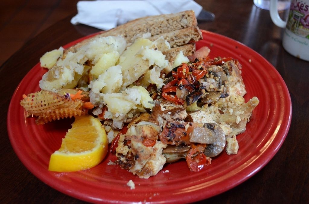 """Photo of Ike's Quarter Cafe  by <a href=""""/members/profile/alexandra_vegan"""">alexandra_vegan</a> <br/>We got the """"Create your own"""": Tofu scramble (with tomatoes, bell peppers, mushrooms and artichoke hearts), potatoes and toast with delicious homemade preserve <br/> November 7, 2016  - <a href='/contact/abuse/image/14700/187121'>Report</a>"""