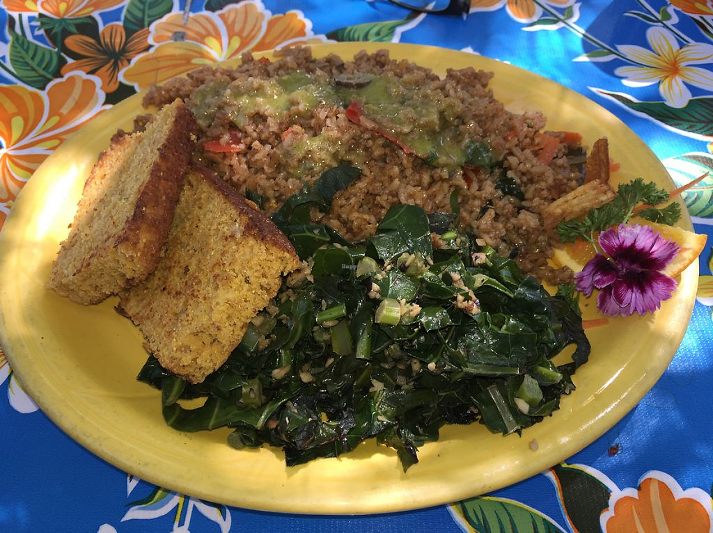 """Photo of Ike's Quarter Cafe  by <a href=""""/members/profile/sncpapa"""">sncpapa</a> <br/>Jambalya - it is listed on the menu as vegetarian, but the only thing not vegan is the normal cornbread. Substitute for the vegan cornbread and then, according to all the servers, it is completely vegan.  <br/> May 1, 2017  - <a href='/contact/abuse/image/14700/254656'>Report</a>"""