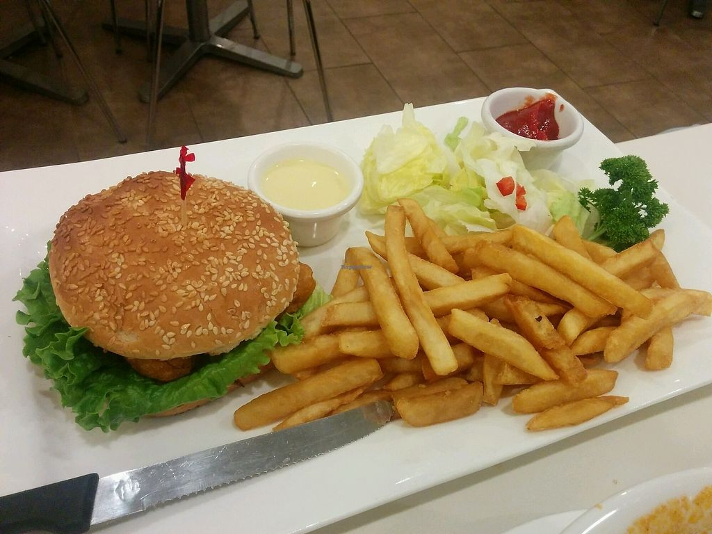 "Photo of Loving Hut - Milpitas  by <a href=""/members/profile/alexandra_vegan"">alexandra_vegan</a> <br/>Phish burger with fries <br/> December 29, 2017  - <a href='/contact/abuse/image/14709/340355'>Report</a>"
