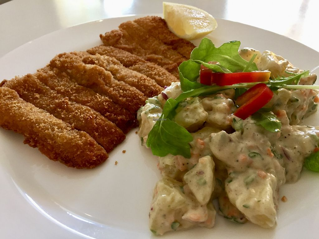 """Photo of Loving Hut - Favoritenstrasse  by <a href=""""/members/profile/burgerabroad"""">burgerabroad</a> <br/>fried soy steak with potato salad  <br/> August 27, 2017  - <a href='/contact/abuse/image/14720/297844'>Report</a>"""