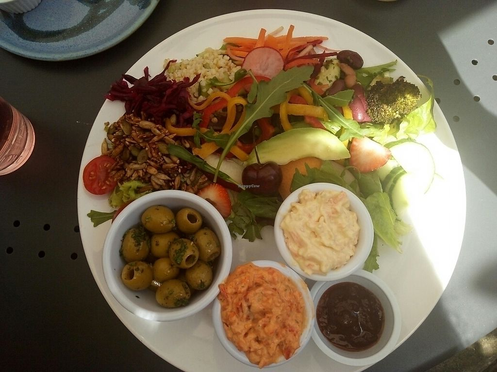 """Photo of The Green Way Cafe  by <a href=""""/members/profile/TiffanyC"""">TiffanyC</a> <br/>Deli selection with garlic olives, red pepper and basil pâté & carrot and cashew pâté <br/> June 17, 2017  - <a href='/contact/abuse/image/14809/270115'>Report</a>"""