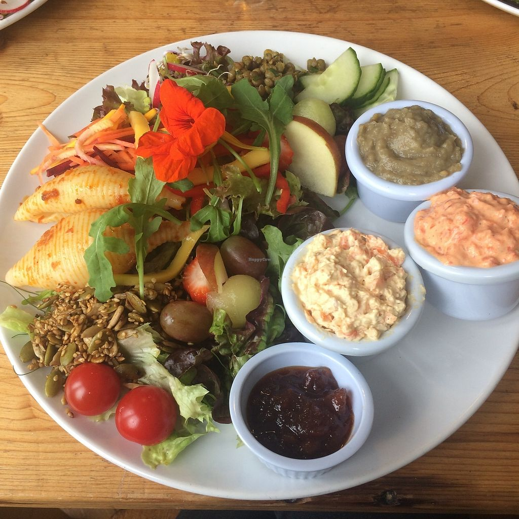 """Photo of The Green Way Cafe  by <a href=""""/members/profile/Hoggy"""">Hoggy</a> <br/>Daily Specials Deli - Aubergine & Lentil Pâté, Roast Red Pepper & Basil Pâté, and Carrot and Cashew. Served with bread roll basket, chutney and assorted salad <br/> September 20, 2017  - <a href='/contact/abuse/image/14809/306474'>Report</a>"""