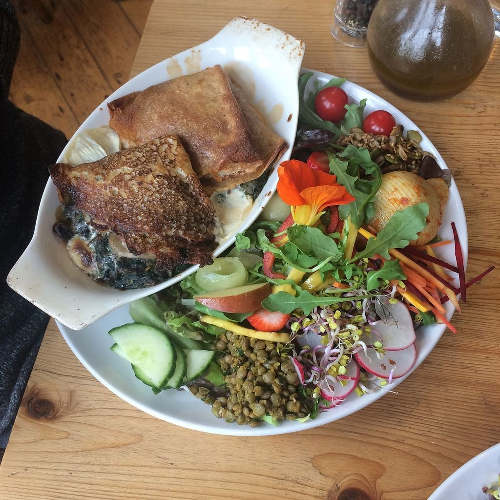 """Photo of The Green Way Cafe  by <a href=""""/members/profile/Hoggy"""">Hoggy</a> <br/>Daily Specials - Vegan spinach and mushroom pancakes with assorted salad <br/> September 20, 2017  - <a href='/contact/abuse/image/14809/306475'>Report</a>"""