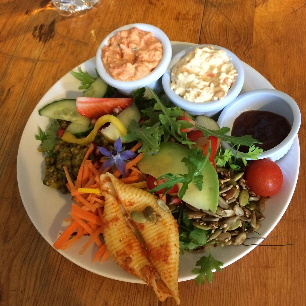 """Photo of The Green Way Cafe  by <a href=""""/members/profile/Hoggy"""">Hoggy</a> <br/>Snack sized vegan deli - Roast Red Pepper & Basil Pâté, and Carrot and Cashew. Served with bread rolls, chutney and assorted salad <br/> September 20, 2017  - <a href='/contact/abuse/image/14809/306476'>Report</a>"""