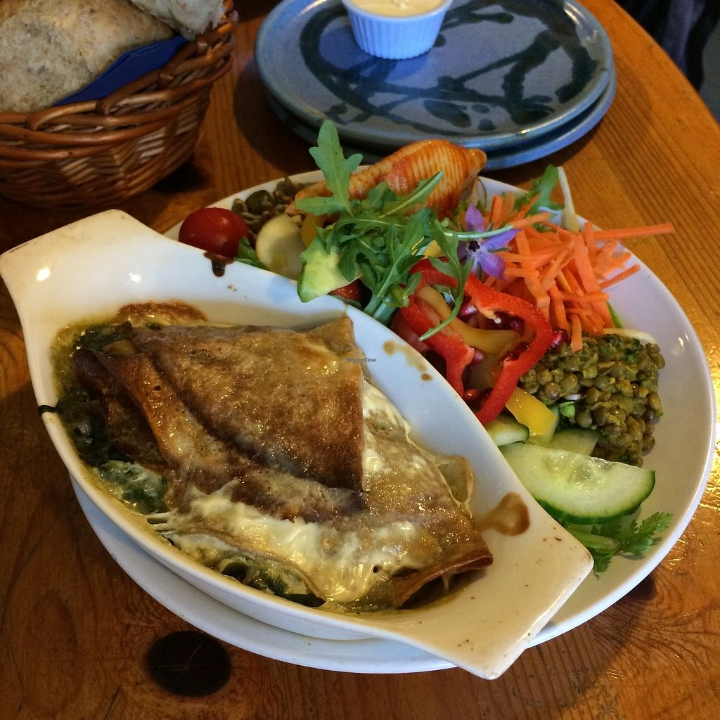 """Photo of The Green Way Cafe  by <a href=""""/members/profile/Hoggy"""">Hoggy</a> <br/>Snack sized vegan spinach and mushroom pancakes with assorted salad <br/> September 20, 2017  - <a href='/contact/abuse/image/14809/306477'>Report</a>"""