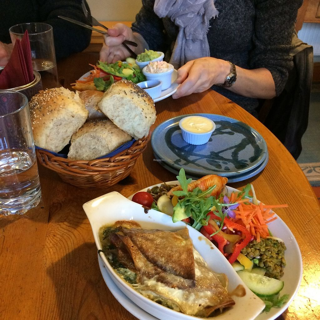"""Photo of The Green Way Cafe  by <a href=""""/members/profile/Hoggy"""">Hoggy</a> <br/>Snack sized Deli dish (top). Bread rolls for two Deli dishes, served with vegan butter. Snack sized vegan Spinach and Mushroom Pancakes <br/> September 20, 2017  - <a href='/contact/abuse/image/14809/306484'>Report</a>"""