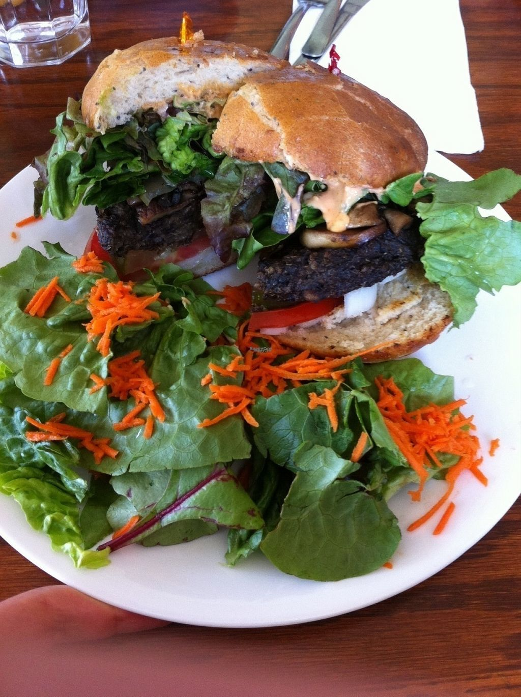 """Photo of Wildflower Cafe and Bakery  by <a href=""""/members/profile/BananaAddict"""">BananaAddict</a> <br/>Blackbean-Quinoa Burger with side salad (no dressing) <br/> August 15, 2016  - <a href='/contact/abuse/image/1480/169145'>Report</a>"""