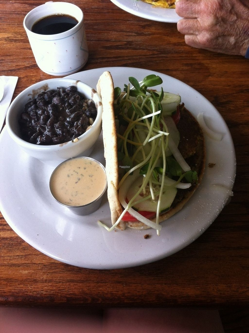 """Photo of Wildflower Cafe and Bakery  by <a href=""""/members/profile/BananaAddict"""">BananaAddict</a> <br/>Falafel with a cup of beans and rice ($3 extra) <br/> August 17, 2016  - <a href='/contact/abuse/image/1480/169368'>Report</a>"""