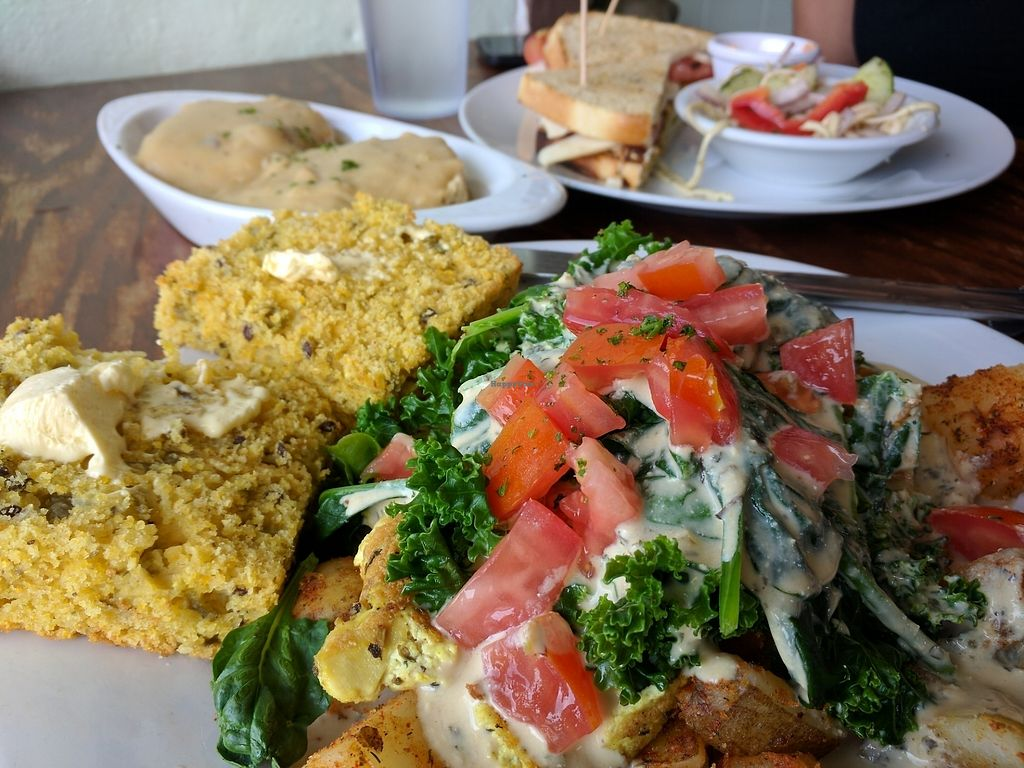 """Photo of Wildflower Cafe and Bakery  by <a href=""""/members/profile/lach"""">lach</a> <br/>Widower potatoes with tofu, cornbread, and a half order of biscuits and gravy. Happy Waitress sandwich in background <br/> August 6, 2017  - <a href='/contact/abuse/image/1480/289790'>Report</a>"""