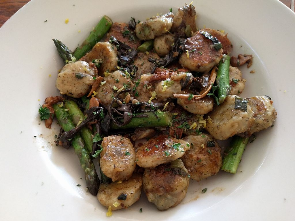"""Photo of Wildflower Cafe and Bakery  by <a href=""""/members/profile/steveveg"""">steveveg</a> <br/>Gnocchi with asparagus and wild mushrooms <br/> April 25, 2018  - <a href='/contact/abuse/image/1480/390982'>Report</a>"""