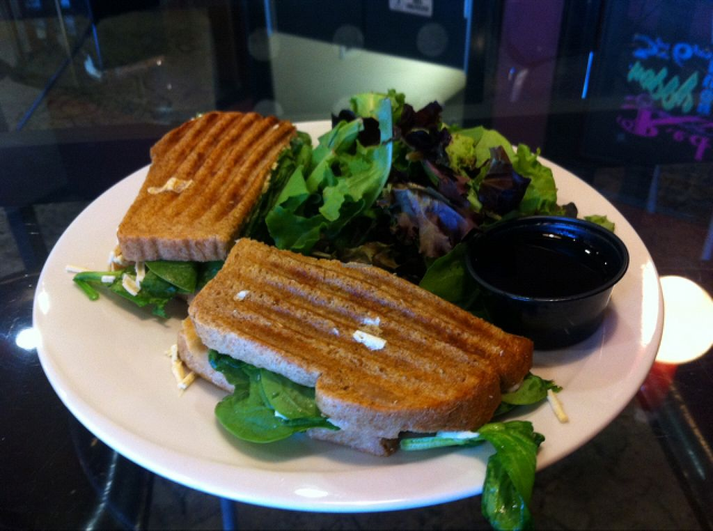 "Photo of CLOSED: Red Velvet Cafe - Sahara  by <a href=""/members/profile/natvv"">natvv</a> <br/>vegan chicken spinach & artichoke panini.  dip it in the balsamic vinegar from your side salad for extra flavour! <br/> October 11, 2015  - <a href='/contact/abuse/image/14814/121070'>Report</a>"