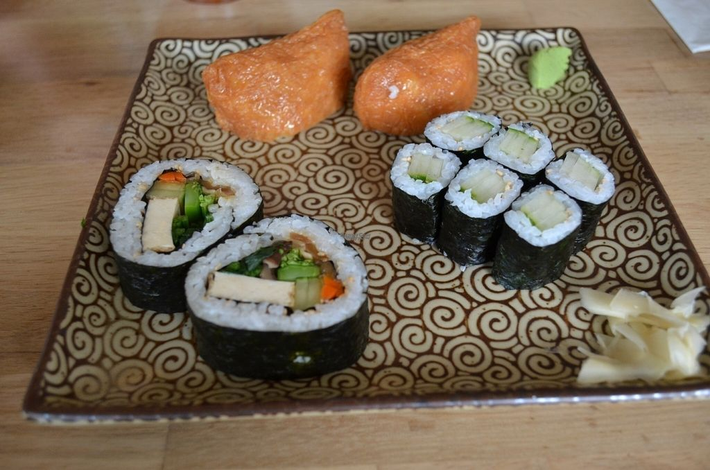"""Photo of Cha-Ya  by <a href=""""/members/profile/alexandra_vegan"""">alexandra_vegan</a> <br/>Sushi plate included in luch special <br/> August 2, 2016  - <a href='/contact/abuse/image/1481/164424'>Report</a>"""