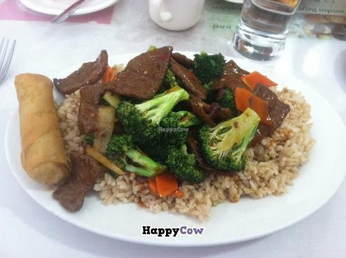 """Photo of Long Life Veggie House  by <a href=""""/members/profile/Vegan%20Vagabond"""">Vegan Vagabond</a> <br/>Spicy beef with broccoli, spring roll, and brown rice.  <br/> October 10, 2013  - <a href='/contact/abuse/image/1482/56498'>Report</a>"""