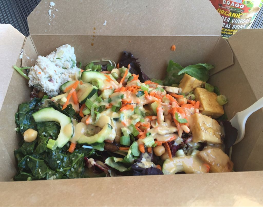"""Photo of New Moon Natural Foods  by <a href=""""/members/profile/gr8fulvegan"""">gr8fulvegan</a> <br/>Amazing salad bar with homemade dressings!! <br/> January 3, 2016  - <a href='/contact/abuse/image/14838/130892'>Report</a>"""