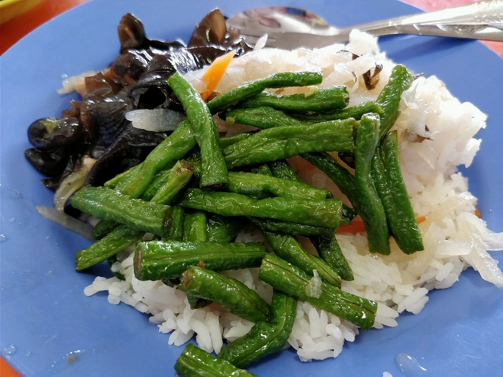 "Photo of Ru Lai Vegetarian Stall  by <a href=""/members/profile/JimmySeah"">JimmySeah</a> <br/>long bean, black fungus and white rice <br/> April 15, 2018  - <a href='/contact/abuse/image/14840/386298'>Report</a>"
