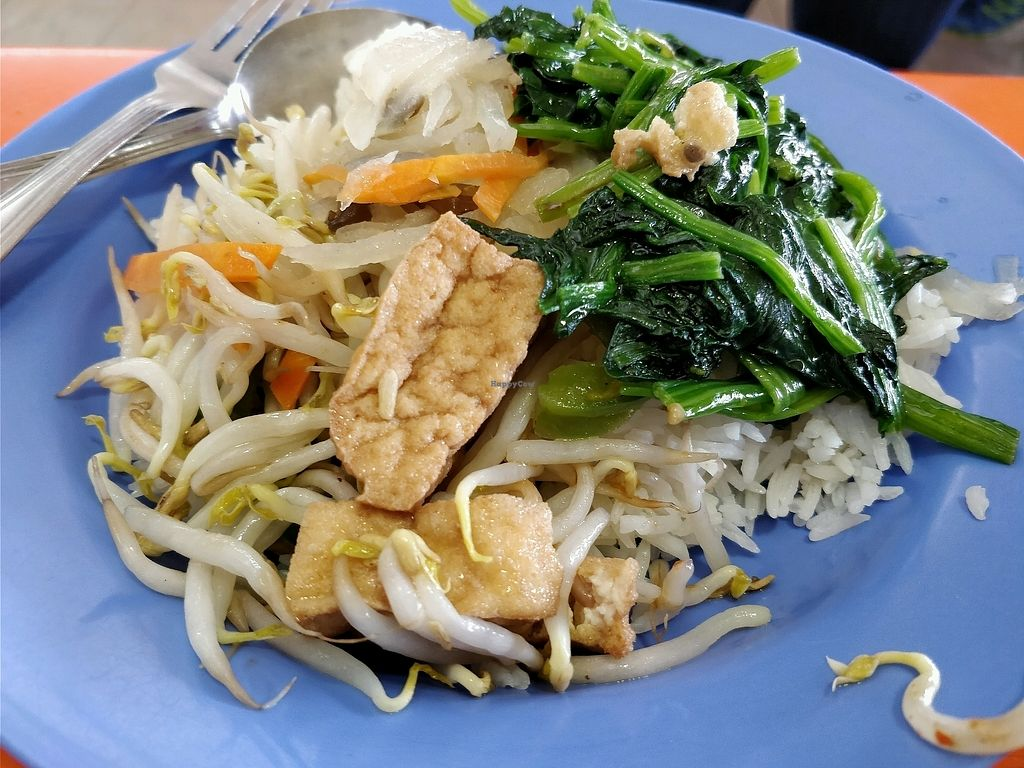 "Photo of Ru Lai Vegetarian Stall  by <a href=""/members/profile/JimmySeah"">JimmySeah</a> <br/>Green vegetables, bean sprouts, tofu and white rice <br/> April 15, 2018  - <a href='/contact/abuse/image/14840/386300'>Report</a>"