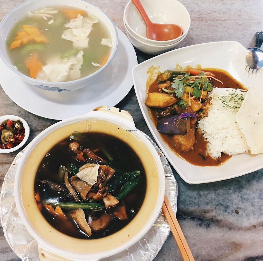 """Photo of Lin Lin Vegetarian Delight  by <a href=""""/members/profile/CherylQuincy"""">CherylQuincy</a> <br/>Claypot hor fun and curry rice <br/> January 31, 2018  - <a href='/contact/abuse/image/14843/353078'>Report</a>"""