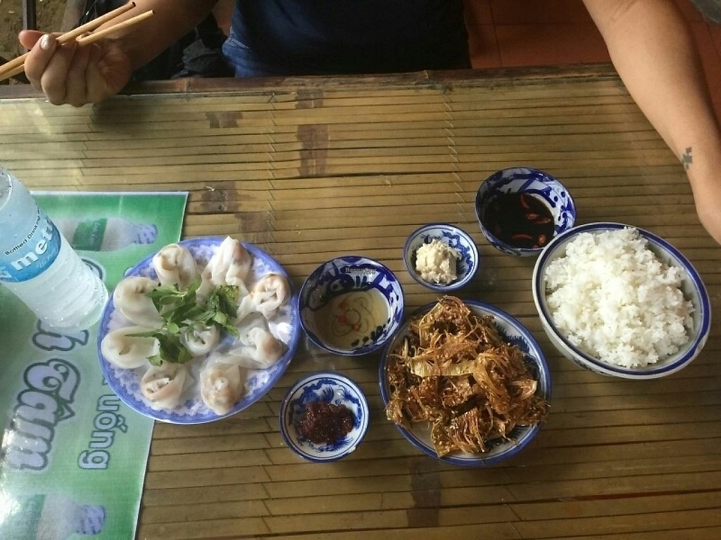 """Photo of Lien Hoa  by <a href=""""/members/profile/Sdsmilly"""">Sdsmilly</a> <br/>fried jackfruit, steamed rice, and dumplings <br/> November 8, 2016  - <a href='/contact/abuse/image/14885/187427'>Report</a>"""