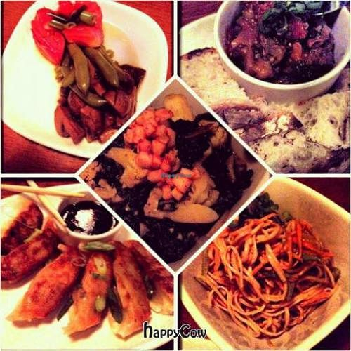 """Photo of Mana Food Bar  by <a href=""""/members/profile/veganmiss"""">veganmiss</a> <br/>Pictured: top left - pickled veggies, top right - caponata, middle - curry, bottom left - gyoza, bottom right - sesame noodles <br/> January 16, 2013  - <a href='/contact/abuse/image/14898/42997'>Report</a>"""