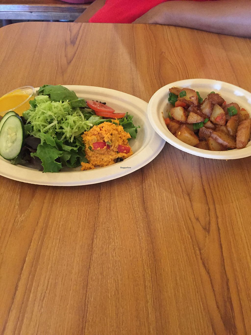 """Photo of Stuff I Eat  by <a href=""""/members/profile/R-MV"""">R-MV</a> <br/>Side Salad with carrot un-tuna; Cottage Fried Potatoes <br/> August 14, 2017  - <a href='/contact/abuse/image/14920/292462'>Report</a>"""