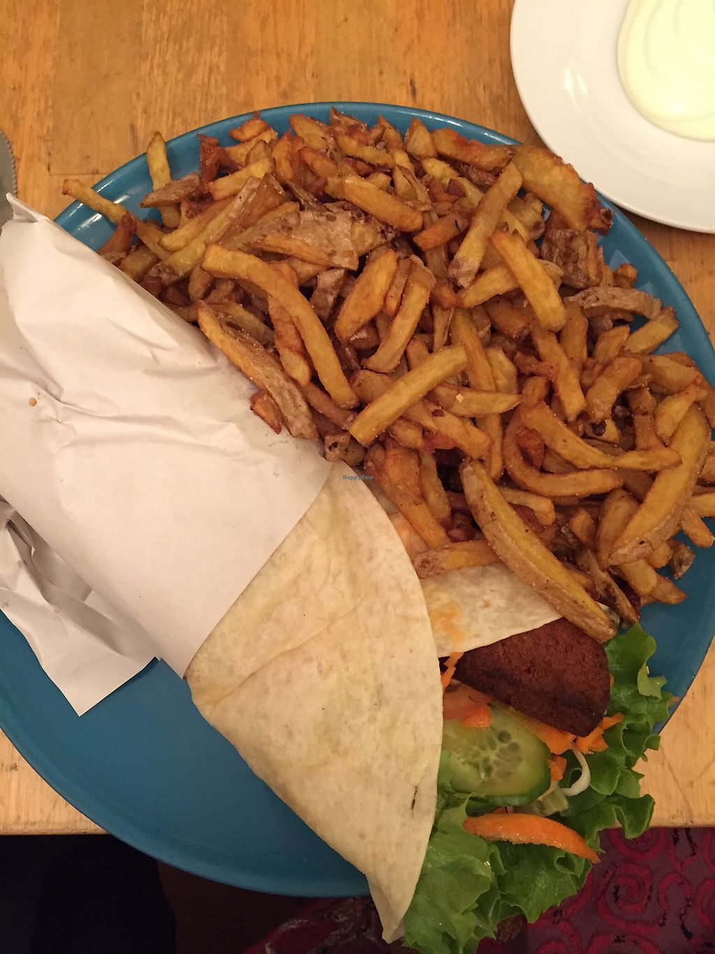 """Photo of Yoyo Foodworld  by <a href=""""/members/profile/MatildeBrixLajer"""">MatildeBrixLajer</a> <br/>Bauverian wrap with fries <br/> February 16, 2018  - <a href='/contact/abuse/image/14960/359983'>Report</a>"""