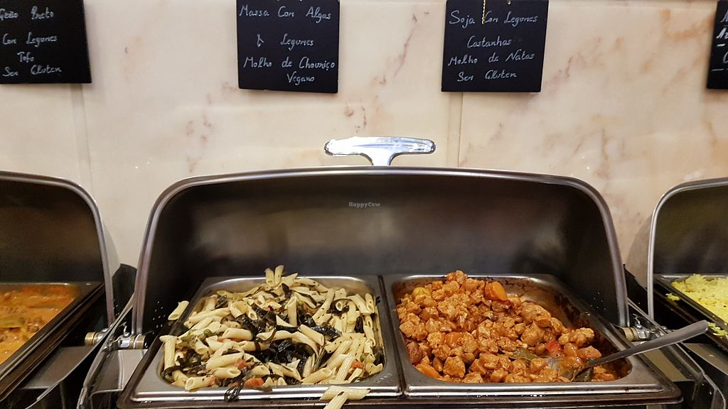 "Photo of Jardim das Cerejas  by <a href=""/members/profile/veganlondon"">veganlondon</a> <br/>pasta with seaweed on left, tasty soya chunks on right <br/> May 1, 2018  - <a href='/contact/abuse/image/15006/393525'>Report</a>"