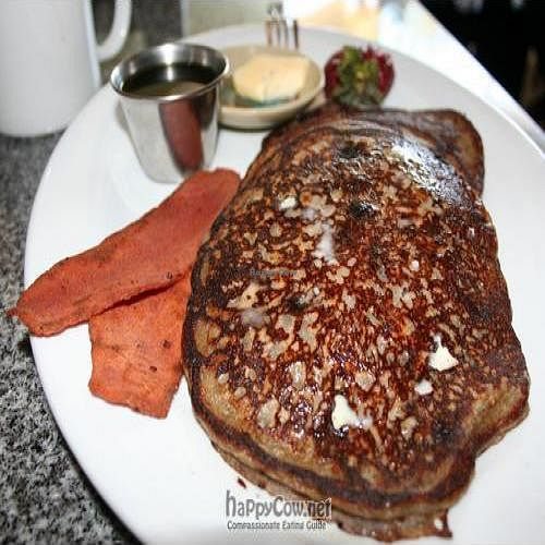 "Photo of Palm Greens Cafe  by <a href=""/members/profile/spiceislandvegan"">spiceislandvegan</a> <br/>Vegan Blueberry Buckwheat pancakes (with 'taste like bacon' strips) <br/> August 15, 2010  - <a href='/contact/abuse/image/15008/5546'>Report</a>"