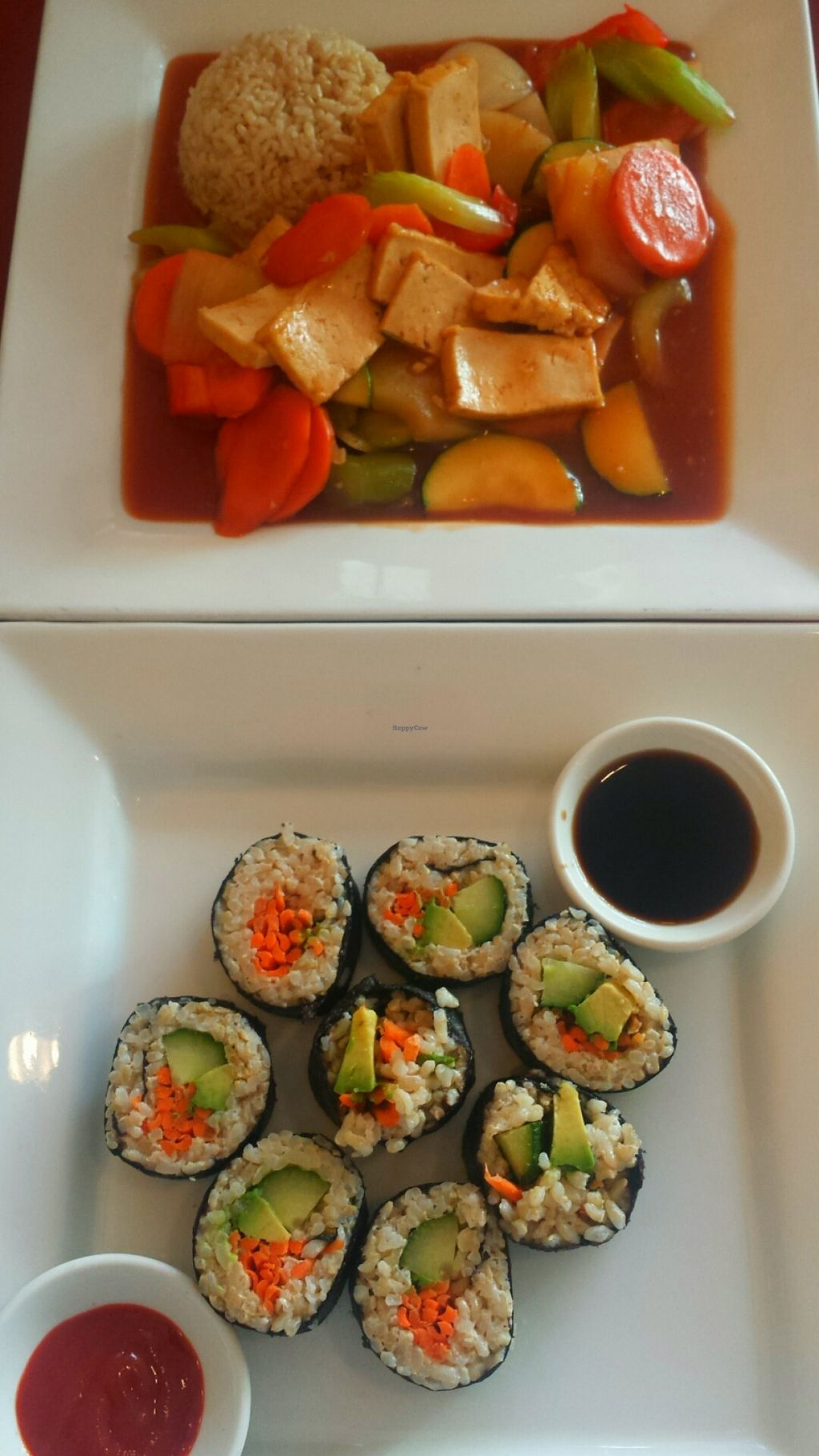 """Photo of Green Earth Vegetarian Cuisine  by <a href=""""/members/profile/Vegan%20BB"""">Vegan BB</a> <br/>Sushi and gluten-free Sweet & Sour Sensation <br/> February 20, 2016  - <a href='/contact/abuse/image/15063/137082'>Report</a>"""