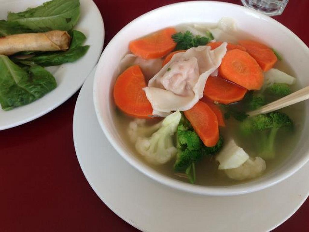 """Photo of Green Earth Vegetarian Cuisine  by <a href=""""/members/profile/marniellen"""">marniellen</a> <br/>Wonton soup and crispy rolls <br/> May 11, 2014  - <a href='/contact/abuse/image/15063/69841'>Report</a>"""