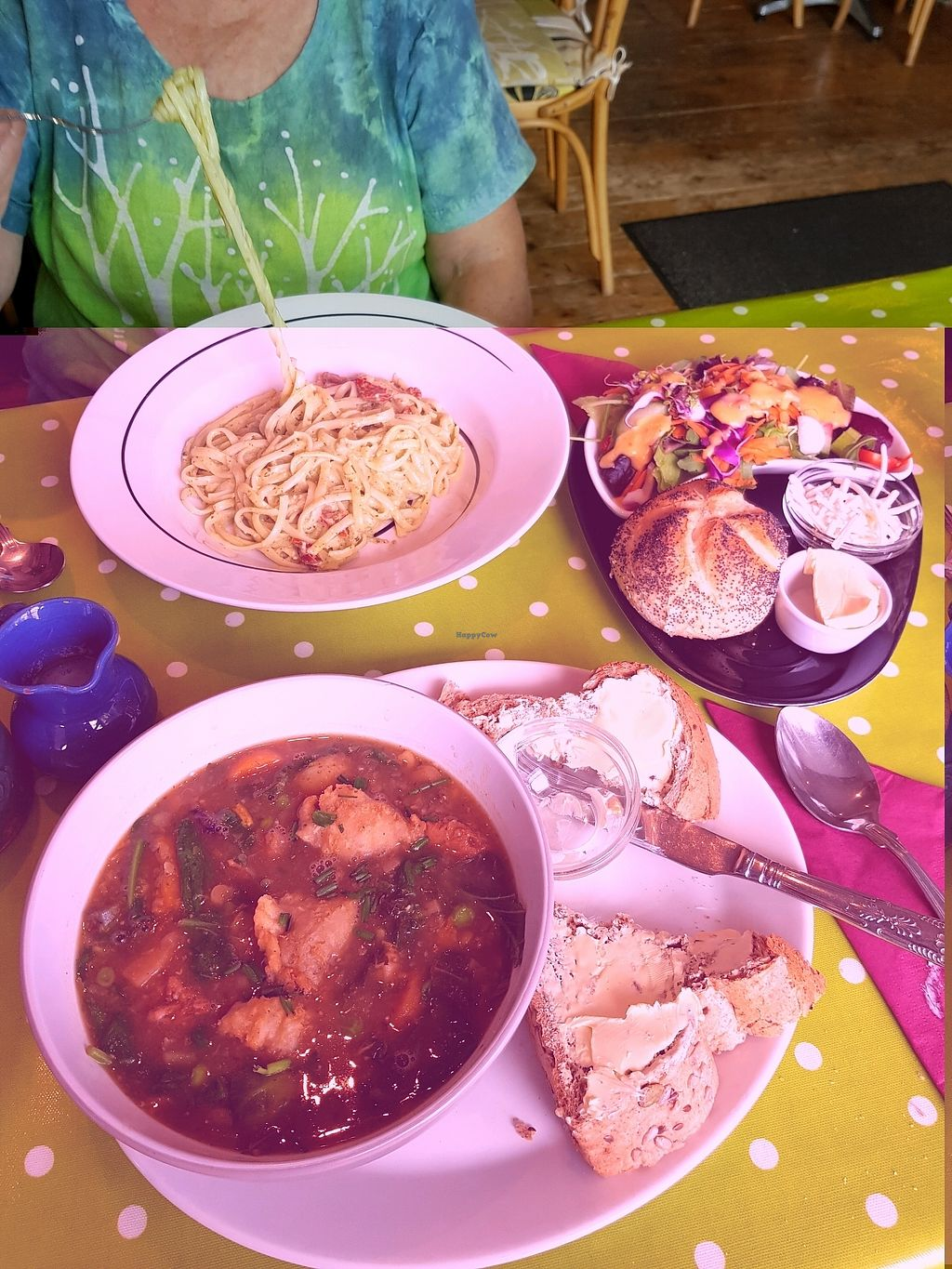 """Photo of The Terrace Arts Cafe - Artannapola  by <a href=""""/members/profile/Chaizy"""">Chaizy</a> <br/>Vegan stew & dumplings, Tagliatelle and salad <br/> September 7, 2017  - <a href='/contact/abuse/image/15071/301705'>Report</a>"""