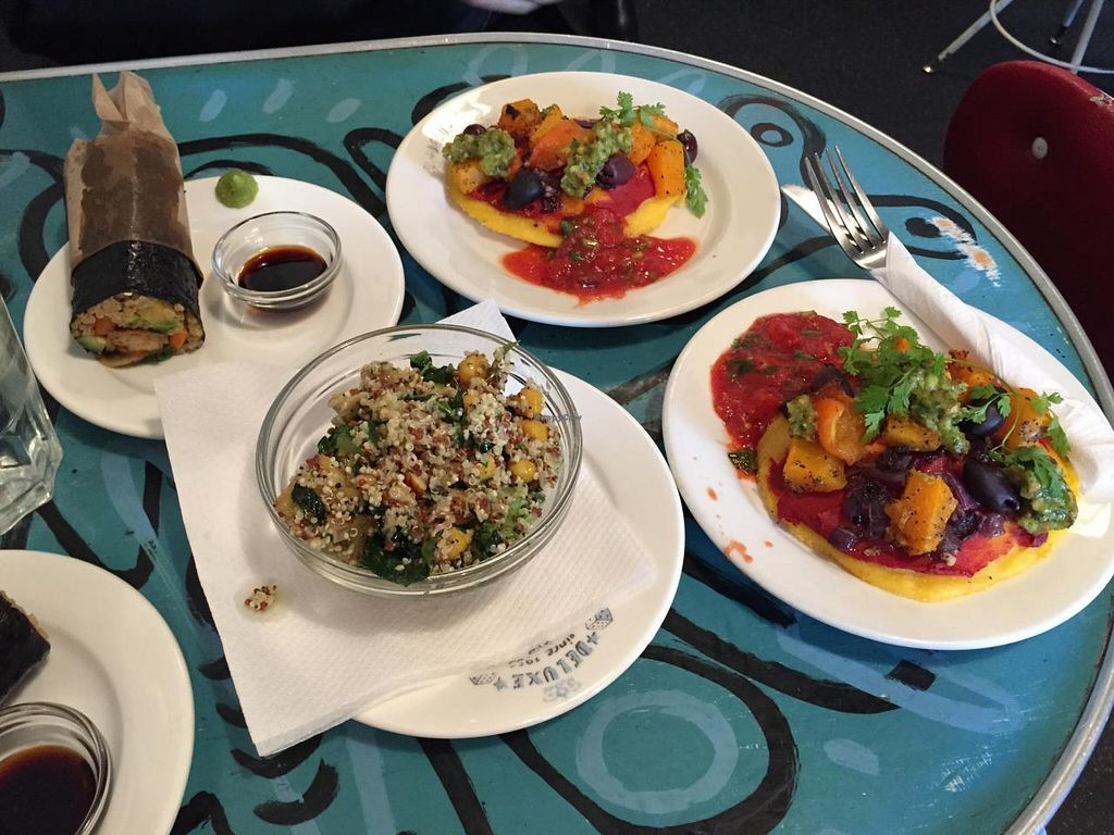 """Photo of Deluxe Expresso Bar  by <a href=""""/members/profile/spaciousawareness"""">spaciousawareness</a> <br/>Vegan polenta pizza, quinoa salad and sushi roll. Deluxe Expresso Bar, Wellington, 08/06/2015 <br/> June 17, 2015  - <a href='/contact/abuse/image/15082/106228'>Report</a>"""