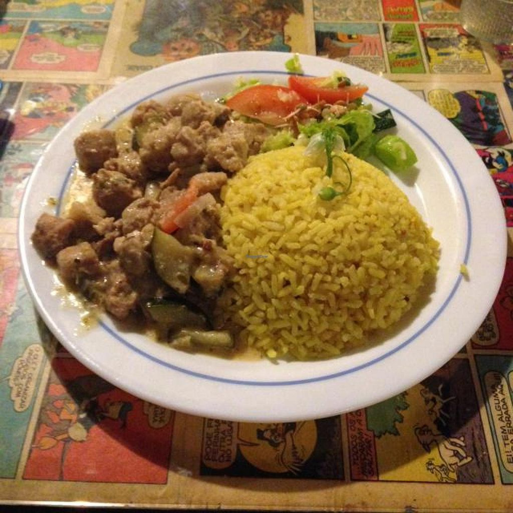 "Photo of Casa da Horta  by <a href=""/members/profile/AndyT"">AndyT</a> <br/>Dish of the day - Vegan Chorico with rice <br/> April 10, 2014  - <a href='/contact/abuse/image/15404/67372'>Report</a>"