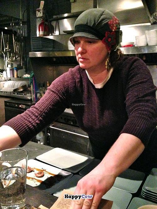 """Photo of CLOSED: Sutra  by <a href=""""/members/profile/blisssu"""">blisssu</a> <br/>Conversation with Cook Karianne (seen here) and Chef Patterson added dimension to our five-course dinner at Sutra <br/> October 20, 2013  - <a href='/contact/abuse/image/15427/56977'>Report</a>"""