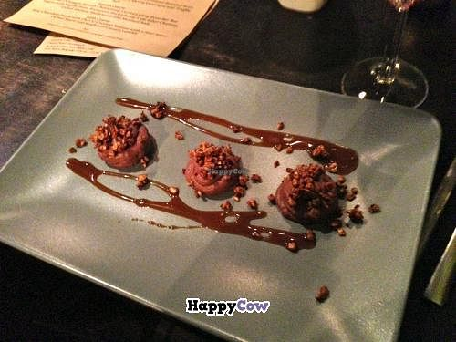 """Photo of CLOSED: Sutra  by <a href=""""/members/profile/blisssu"""">blisssu</a> <br/>Dessert: Rose-Chocolate-Coconut Mousse with Star Anise Carmel Sauce and Sunflower Cacao Crumble--you bet it was good! <br/> October 20, 2013  - <a href='/contact/abuse/image/15427/56981'>Report</a>"""