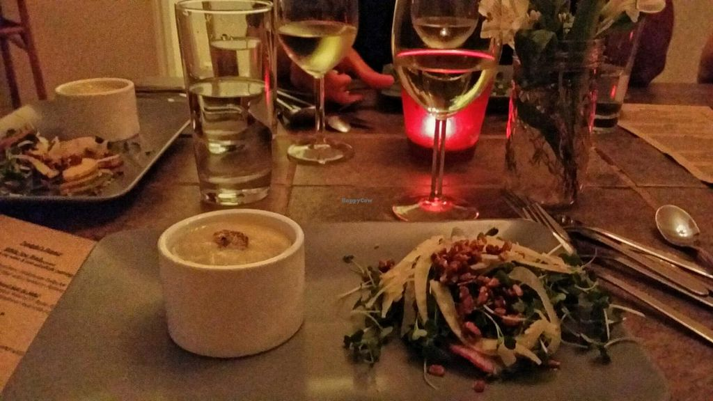 """Photo of CLOSED: Sutra  by <a href=""""/members/profile/The%20Hungry%20Vegan"""">The Hungry Vegan</a> <br/>Potato leek soup with micro greens <br/> December 21, 2014  - <a href='/contact/abuse/image/15427/88447'>Report</a>"""