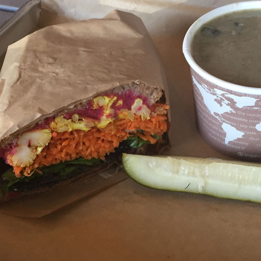 """Photo of Roots Natural Foods  by <a href=""""/members/profile/JamieElder"""">JamieElder</a> <br/>mushroom fennel cauliflower soup and beet hummus and cauliflower sandwich  <br/> April 13, 2016  - <a href='/contact/abuse/image/15443/144363'>Report</a>"""