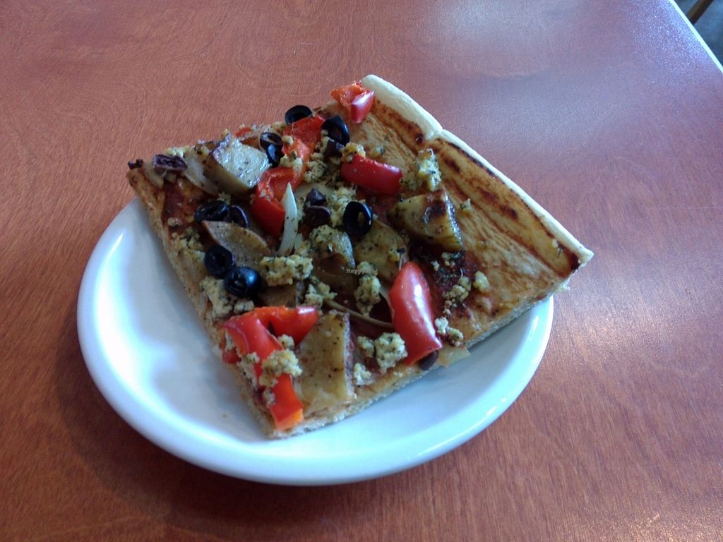 """Photo of Alpine Bakery  by <a href=""""/members/profile/Ryecatcher"""">Ryecatcher</a> <br/>Pizza slice with potatoes and scrambled tofu <br/> September 20, 2015  - <a href='/contact/abuse/image/15475/118574'>Report</a>"""