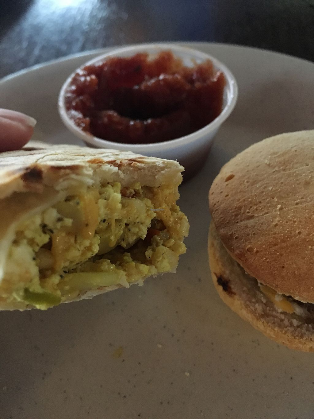 """Photo of Drunken Monkey Coffee Bar  by <a href=""""/members/profile/rhona88"""">rhona88</a> <br/>Vegan burrito and sausage sandwich  <br/> November 24, 2017  - <a href='/contact/abuse/image/15477/328752'>Report</a>"""